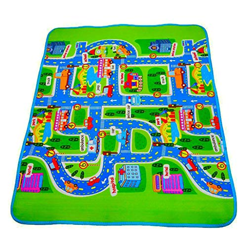 niumanery Extra Large Foldble Waterproof Crawling Mat, City Life Great for Playing with Cars and Toys, Children Educational Road Traffic Playmat for Bedroom Play Room Game Safe Area