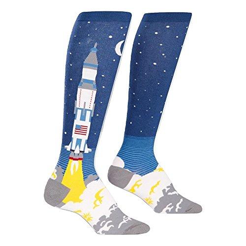 Sock It To Me 3 2, 1, quítate, Calcetines hasta la Rodilla, Calcetines de Astronauta Cohete para Mujeres Un tamaño Azul