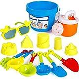 Passer Juguetes de arena para niños, 13 juguetes de arena para juegos de agua para niños pequeños, juego de verano al aire libre, pala de playa, juguete de dragado de arena para niños y niñas