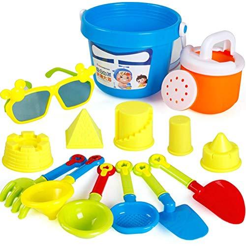 FreshWater Juego de 13 juguetes de playa de arena para niños, juego de agua, cubo, rastrillos, reloj de arena, molde de castillo, ducha, marco de gafas, juguetes divertidos para niños y niñas