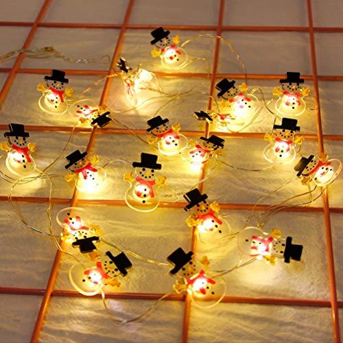 BSMEAN LED Lichterkette, 20LED Lichterketten Schneemann Form Wasserdichte Lichterketten Girlande Lichterketten für Weihnachten Hochzeitsdekor Party