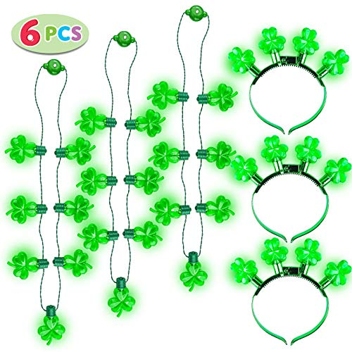 6 Pcs St. Patrick's Day Shamrock LED Light Up Headband and Necklace Party Accessories Iris Green Saint Patricks Glow in the Dark Party Favor Supplies
