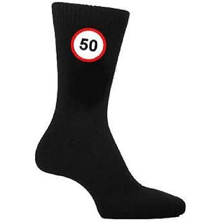 50 MPH Speed Sign Design Mens Black Socks