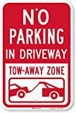 SmartSign - K-5456-EG-12x18 'No Parking - In Driveway, Tow Away Zone' Sign | 12' x 18' 3M Engineer Grade Reflective Aluminum Red on White