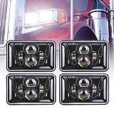 4pcs 60W Rectangular 4x6 Led Headlights Dot Approved H4656 H4651 H4652 H4666 H6545 Headlight Replacement for Freightliner Peterbilt Kenworth Chevrolet Oldsmobile Cutlass Trucks - Black