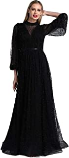 Black Dresses for Women, Evening Dress Long Black Dresses for Women, Long Sleeves Elegant Sexy Black Womens Dress for Christmas Costumes Sexy Dress Christmas Costume Ball Gown