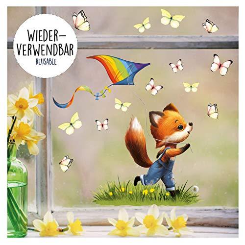 Wandtattoo Loft Fensterbild Frühling Ostern wiederverwendbar Fensteraufkleber Kinderzimmer / 2. Fuchs Drache (1151) / 1. DIN A4 Bogen