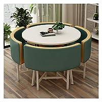 耐久性のあるテーブルと椅子のセット 表オフィス会議室ラウンジシンプルなテーブルと椅子セットモダンデザイン円卓バルコニーリビングルーム DYYD (Color : Dark Green)