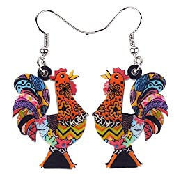 Colorful rooster earrings are perfect gifts for chicken lovers