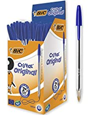 BIC Cristal Original Bolígrafos Punta Media (1.0 mm) - Caja de 50 unidades, óptimo para oficinas, color azul