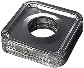 "Aluminum Foil Square Gas Stove Burner Covers – Pack of 100 – Disposable Bib Liners for Kitchen Gas Range Top - Keep Your Gas Range Clean with DCS Deals Drip Pans - 8.5 x 8.5 x .5"" Inch"