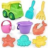 Sanlebi 9 Piezas Juguetes Playa, Juegos Playa con Cubo Palas Rastrillo Moldes de Arena, Niños Material Plastico Juguetes Arena