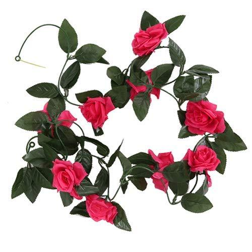 FS 8ft Artificial Hot Pink/Cerise Rose Flower Garland - Wedding Trellis Garden