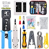 Hilitchi 108 Pcs Network Tool Kit Includes Portable Phone Cable Crimper, Cable Tester, Wire Stripping Cutter, 50Pcs Mixed Color CAT5E CAT6 RJ45 Boot, 50Pcs, Ethernet Cable Connectors, Punch Down Tool