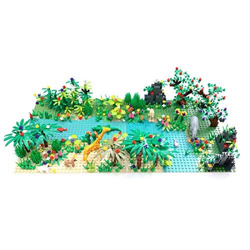 DSXX Juego de bloques de construcción tropical con 1 placa base y minifiguras, accesorios para plantas forestales, compatible con Lego