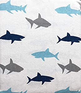 Maximoose 4 Piece Cotton Flannel Full Size Double Bed Sheet Set Happy Sharks in Shades of Blue and Gray on White