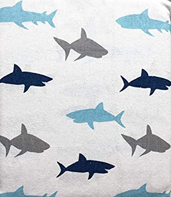 Maximoose 4 Piece Cotton Flannel Queen Size Double Bed Sheet Set Happy Sharks in Shades of Blue and Gray on White