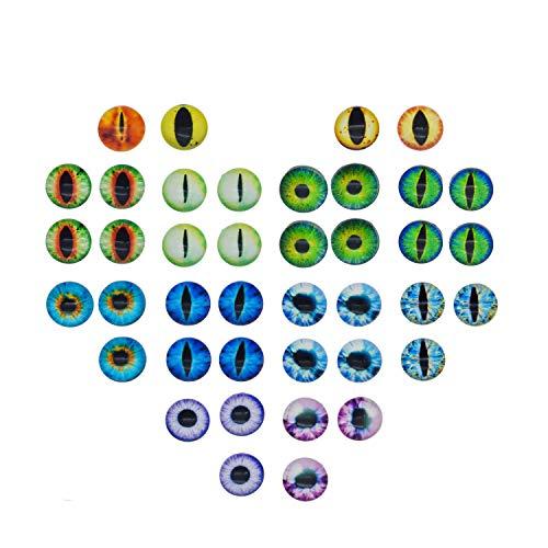 210 Stück 12 x 12 mm runder Glas-Cabochon für Amigurumi-Puppen, Tieraugen oder Schmuckherstellung