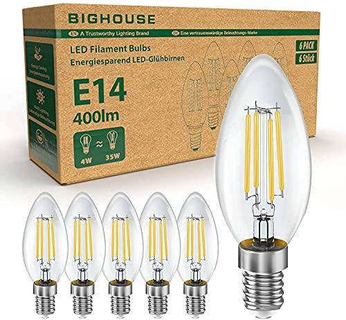 BIGHOUSE E14 LED Lampe, Kerzenform, 4W Ersetzt 35W Halogenlampen, 400 Lumen, 2700K Warmweiß, Filament Klar, 6 Stück