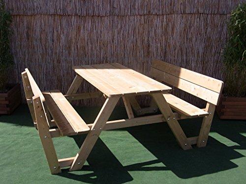 BIHL Picknicktisch Bierbank 150 cm Picknickbank Bank Tisch mit Rückenlehne