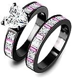 Classic Victoria Wieck Wedding Engagement Bride Ring 10K Black Gold Pink Baguette CZ Heart Diamond Beautiful Sz 5-11 (8)