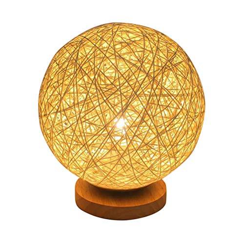 Lámpara de Mesa E27 Base Rattan Bola Redonda,Lámparas de bola con Base de Madera,para...