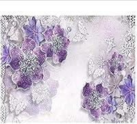 Bosakp カスタム写真の壁紙3D紫ジュエリー花テレビ背景壁寝室の壁紙家の装飾3D 100X50Cm