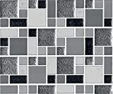 bCreative Design - 10-Sheet Peel and Stick Tile for Kitchen/Bath Backsplash, Marble Decorative Tiles - Irregular Square White, Dark Gray, and Silver Tiles with White Grout