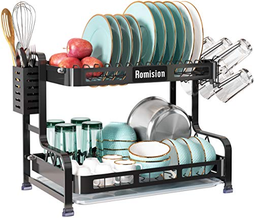 2 Tier Dish Rack, Romision Stainless Steel Large Dish Drying Rack and Drainboard Set with Utensil Holder, Cup Holder and Dish Drainer for Kitchen Counter(Black)