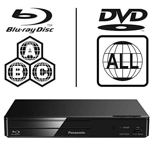 Panasonic DMP-BD84EB-K Smart ICOS Multi Region All Zone Code Free Blu-ray Player. Blu-ray zones A, B and C, DVD regions 1 - 8. YouTube, Netflix etc. HDMI output. HDD Playback