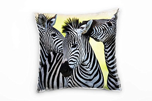 Paul Sinus Art Tiere, Schwarz, Weiß, Gelb, Drei Zebras Deko Kissen 40x40cm für Couch Sofa Lounge Zierkissen - Dekoration Zum Wohlfühlen Hergestellt in Deutschland
