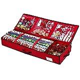 Dantazz Geschenkpapier Organizer Aufbewahrungstasche Aufbewahrung Container Weihnachten Geschenkpapierrollen Geschenkverpackung Geschenkanhänger Tasche (Rot)