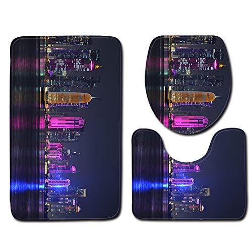 MUBAY Alfombrillas de baño Suave Antideslizante Sistema de alfombras de baño de Terciopelo de Terciopelo 3D, Juego de Estera de Inodoro Contorneado en Forma de U (Color : I, Size : L)