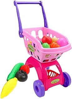 STOBOK Lärande leksak shoppingvagn stormarknad lekset med kundvagn leksaker så gör det som om livsmedelstillbehör för barn...