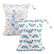 ALVABABY 2pcs Cloth Diaper Wet Dry Bags Waterproof Reusable with Two Zippered Pockets Travel Beach Pool Daycare Soiled Baby Items Yoga Gym Bag for Swimsuits or Wet Clothes (L190192)