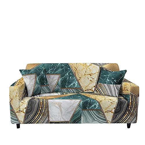 Fansu Funda de Sofá Elástica para Sofá de 1 2 3 4 Plazas,Ajustable 3D Patchwork de Bohemia Cubre Sofa con 1 Funda Cojín,Antideslizante Protector de Muebles (Costuras de mármol,3 plazas (190~230cm))