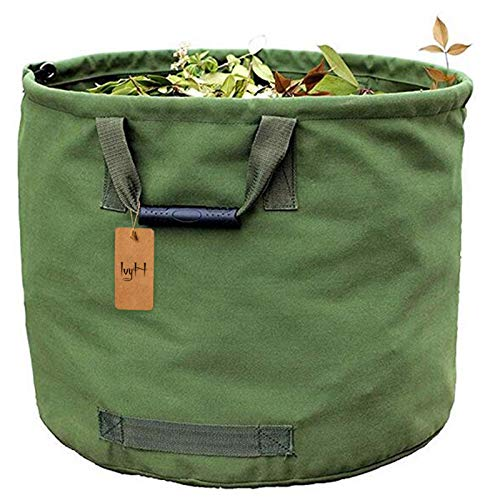 125L Garden Waste Bags Heavy Duty with Handles,Green Leaf Bag with Military Canvas Fabric (H45.7 cm, D55.8 cm)
