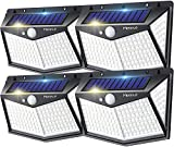 Solar Outdoor Lights, Upgraded 212 LED/4 Pack 3 Modes Motion Sensor Security Lights w/ 270° Wide Lighting Angle, IP65 Waterproof Wall Lights Solar Powered, Bright for Yard Fence Garden Outside