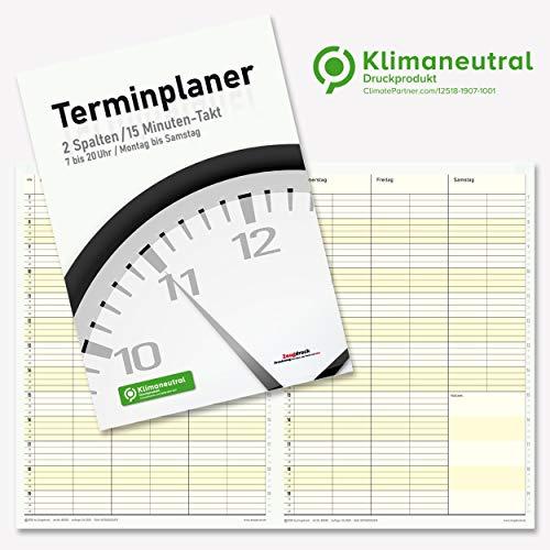Terminplaner 2 Spalten 15 Minuten Takt Montag bis Samstag Format DIN A4 hoch inkl. Raum für Notizen pro Wochenübersicht