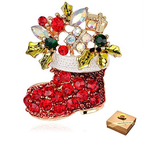 Brosche Weihnachten Brosche Strass Mehrfarbig Stiefel Kind Geschenk Partei Bevorzugungen,Weihnachtsdeko Ornamente Geschenk Frauen Schmuck Zubehör(1Stück)