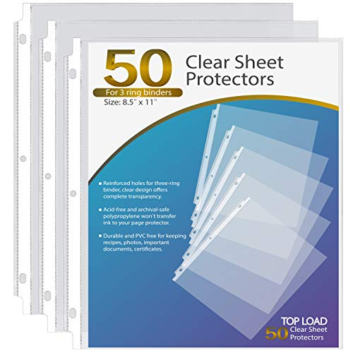 Ktrio Sheet Protectors 8.5 x 11 Inches Clear Page Protectors for 3 Ring Binder, Plastic Sleeves for Binders, Top Loading Paper Protector Letter Size, 50 Pack