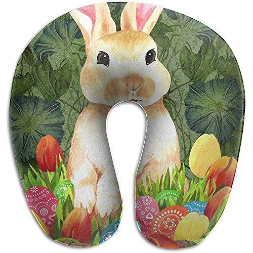 Almohada De Cuello En Forma De U,Almohadas De Viaje,Cojin Cervical,Easter Bunny Basket Head Relájate Almohada En Forma De U,Almohada De Vuelo En Coche para Descansar