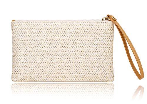 Women's Straw Clutch Bag Bohemian Zipper Wristlet Womens Summer Beach Sea Purse Straw Wallets For Women (Beige- White)
