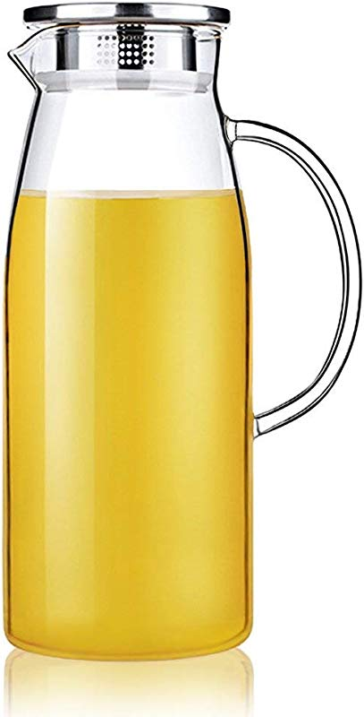 Artcome 60 Ounces Glass Iced Tea Pitcher With Stainless Steel Strainer Lid Hot Cold Water Jug Juice Beverage Carafe