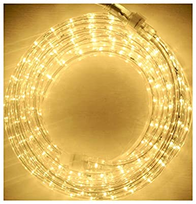Warm White LED Flexible Rope Light Kit for Indoor/Outdoor Use, Waterproof, 1/2 diameter, 120V, Home, Garden, Patio, Shop Windows, Party, Event, Christmas (24)
