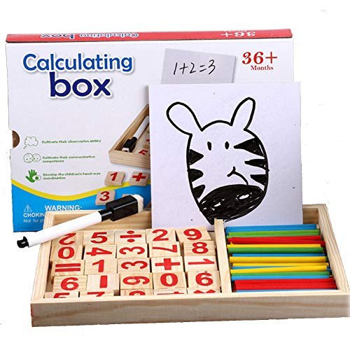 HLJgift Wooden Counting Stick Math Manipulation Games, Preschool Learning Teaching Tool for 3 4 5 6 7 Years Old Kids Toddlers, Number Learning Material for Boys and Girls
