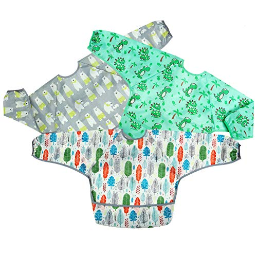 PandaEar Long Sleeve Bib 3-Pack Set| Baby & Toddler Waterproof Bibs Smock with Pocket and Crumb Catcher |Washable Stain and Odor Resistant Apron | 6-30 Months