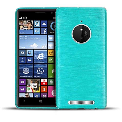 Conie BC27212 Brushed Case Kompatibel mit Nokia Lumia 830, Silikonhülle Rückschale mit Anti Rutsch Hülle für Lumia 830 Backcover Blau