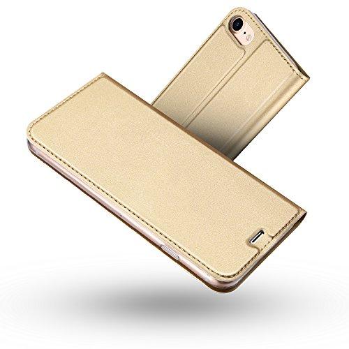 Radoo iPhone 8 Hülle,iPhone 7 Hülle, Premium PU Leder Handyhülle Brieftasche-Stil Magnetisch Klapphülle Etui Brieftasche Hülle Schutzhülle Tasche für Apple iPhone 7/ iPhone 8 4.7 Zoll (Gold)