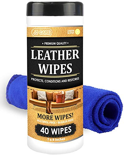 JJ CARE Leather Wipes for Car Seats [Pack of 40] Leather Cleaning Wipes + Free Microfiber Cloth, Leather Car Seat Cleaner, Leather Wipes for Couch, Car Interior, Furniture, Shoes and Purses